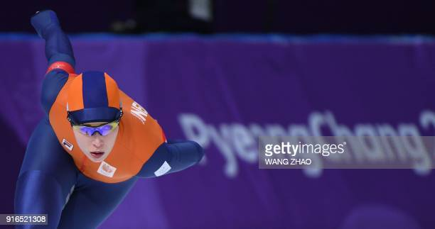 Netherlands' Antoinette De Jong competes in the women's 3,000m speed skating event during the Pyeongchang 2018 Winter Olympic Games at the Gangneung...