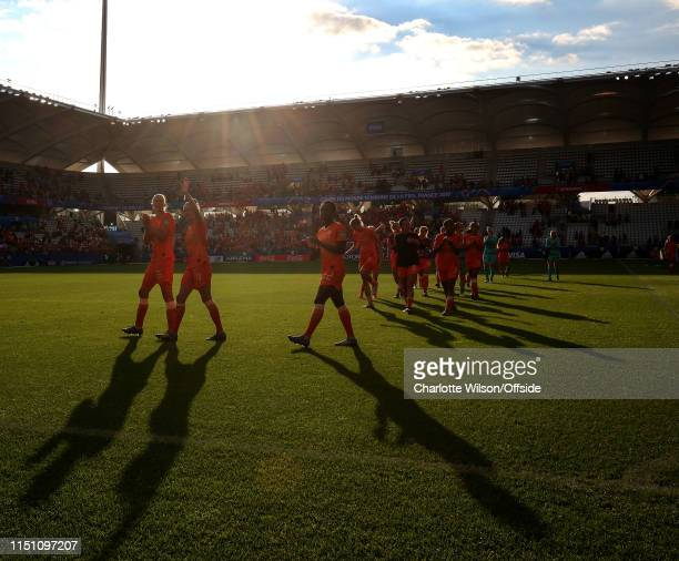 Netherlands applaud their fans after the 2019 FIFA Women's World Cup France group E match between Netherlands and Canada at Stade Auguste Delaune on...
