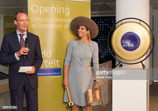 Netherlands Bank President Klaas Knot stands next to Queen Maxima of The Netherlands opening the new visitor center of the Netherlands Bank on...