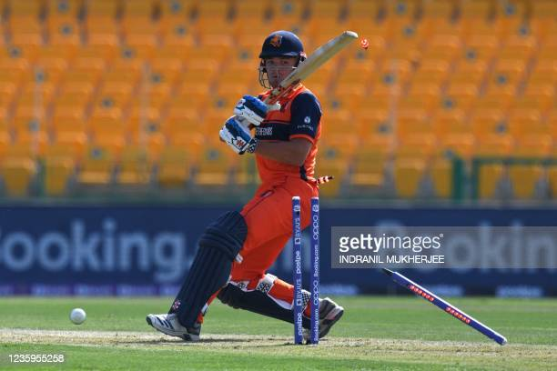 Netherland's Bas de Leede is clean bowled by Ireland's Josh Little during the ICC mens Twenty20 World Cup cricket match between Ireland and...
