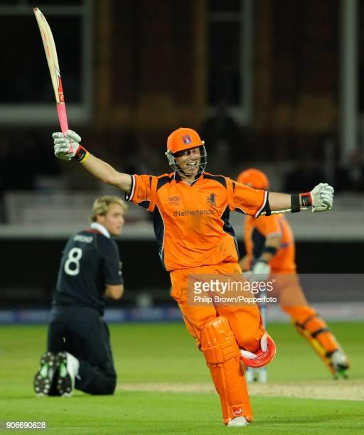 Netherlands batsman Edgar Schiferli celebrates as Netherlands win the ICC World Twenty20 group match between England and Netherlands at Lord's...