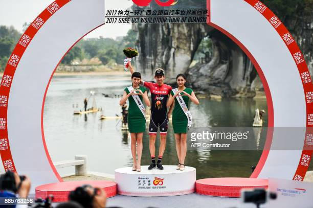 Netherlands' Bauke Mollema of team TrekSegafredo celebrates during the 2017 Gree UCI World Tour of Guangxi cycling race in Guilin in China's southern...