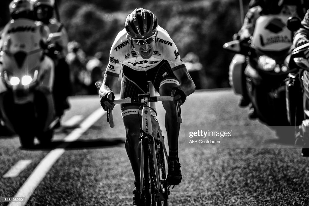 Netherlands' Bauke Mollema rides in a breakaway during the 189,5 km fifteenth stage of the 104th edition of the Tour de France cycling race on July 16, 2017 between Laissac-Severac l'Eglise and Le Puy-en-Velay. /