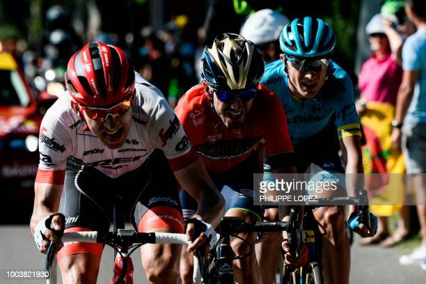 Netherlands' Bauke Mollema Spain's Jon Izagirre and Denmark's Magnus Nielsen ride during their breakaway in the 15th stage of the 105th edition of...