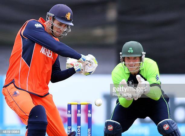 Netherland's Ben Cooper bats during the ICC World Twenty20 Qualifer between Ireland and the Netherlands at Malahide cricket club north of Dublin on...