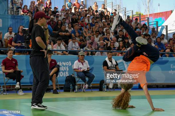 Netherland's bgirl Vicky competes against Japan's bgirl Ram during a battle at the Youth Olympic Games in Buenos Aires Argentina on October 08 2018...
