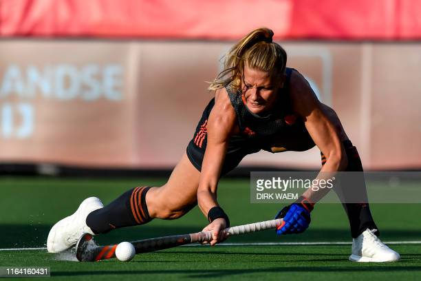 Netherlands' Caia van Maasakker pictured during a hockey game between England and The Netherlands a semi finals game at the 'EuroHockey' European...