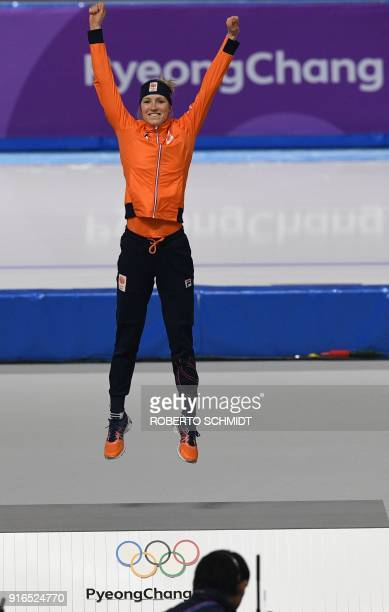 Netherlands' Carlijn Achtereekte celebrates winning gold in the women's 3000m speed skating event during the Pyeongchang 2018 Winter Olympic Games at...
