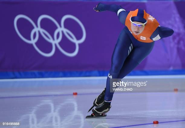 Netherlands' Carlijn Achtereekte compentes in the women's 3,000m speed skating event during the Pyeongchang 2018 Winter Olympic Games at the...