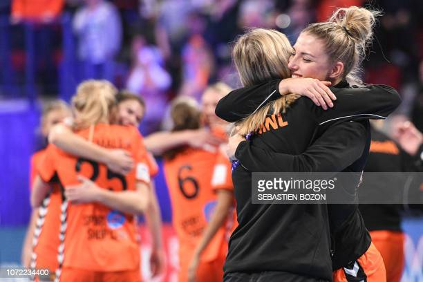 Netherlands' center back Nycke Groot jubilates at the end of the 2018 European Women's handball Championships Group 2 main round match between...