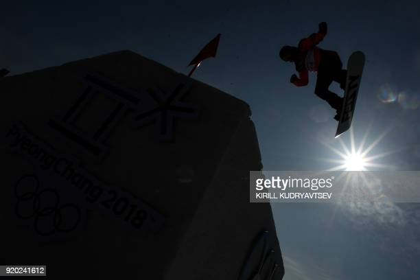 Netherlands' Cheryl Maas competes during the practice before the qualification of the women's snowboard big air event at the Alpensia Ski Jumping...