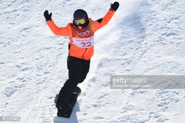 Netherlands' Cheryl Maas competes in a run of the women's snowboard slopestyle final event at the Phoenix Park during the Pyeongchang 2018 Winter...