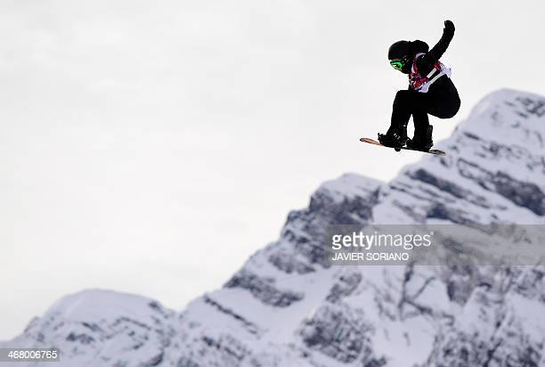 Netherlands' Cheryl Maas competes in the Women's Snowboard Slopestyle Semifinals at the Rosa Khutor Extreme Park during the Sochi Winter Olympics on...