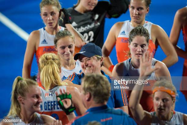 Netherlands coach Alyson Annan celebrates with her team after the quarter final game between Netherlands and England of the FIH Womens Hockey World...