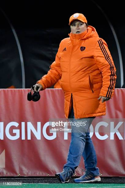 Netherlands coach Alyson Annan looks on during the Women's FIH Field Hockey Pro League match between USA and Netherlands at Kentner Stadium on...