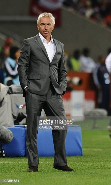 Netherlands' coach Bert Van Marwijk watches his players during their Group E first round 2010 World Cup football match on June 24 2010 at Green Point...