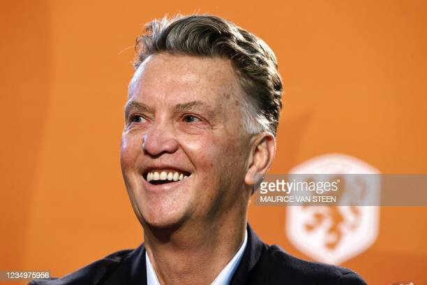 Netherlands' coach Louis van Gaal smiles as he attends a press conference of the Dutch national soccer team on the KNVB Campus, on August 31, 2021 in...