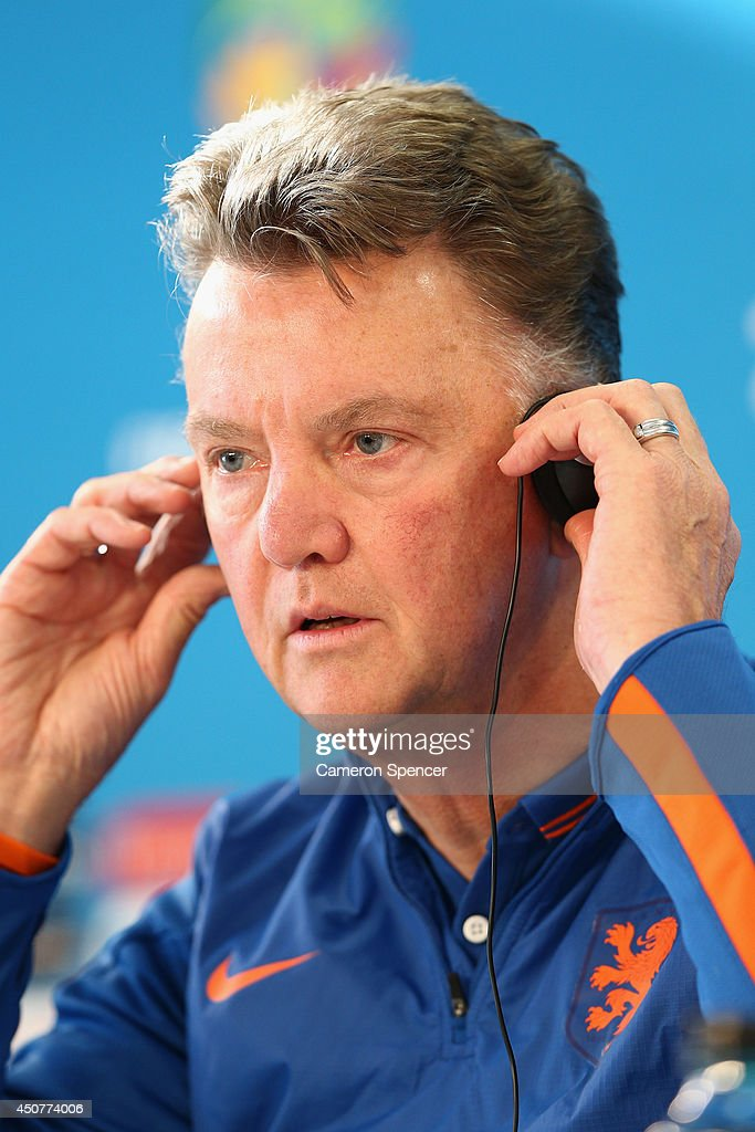 Netherlands coach Louis van Gaal talks during a Netherlands press conference at Estadio Beira-Rio on June 17, 2014 in Porto Alegre, Brazil.