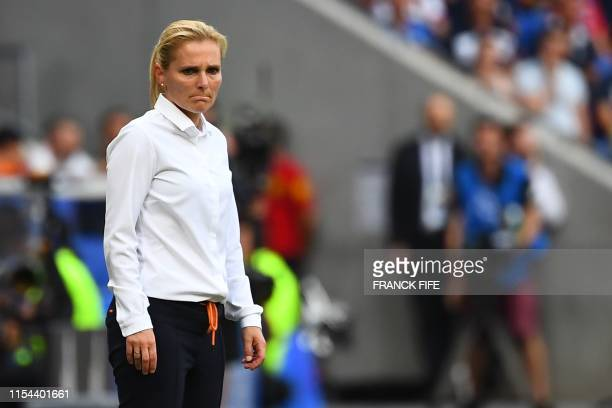 Netherlands' coach Sarina Wiegman stands on the sidelines during the France 2019 Womens World Cup football final match between USA and the...