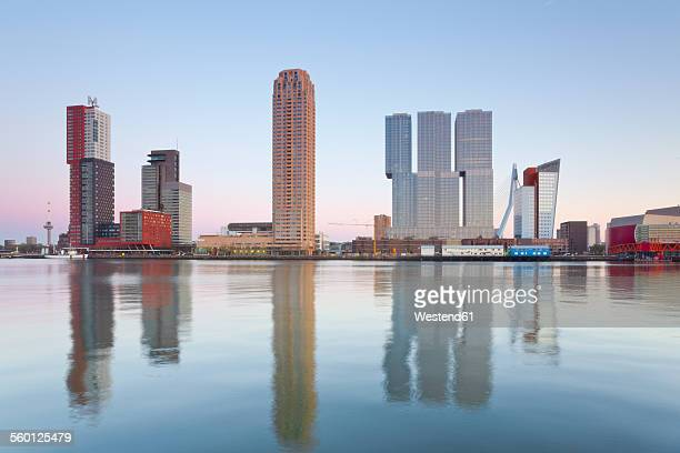 netherlands, county of holland, rotterdam, view over rijnhaven to the skyline of kop van zuid, wilhelminapier - rotterdam stock pictures, royalty-free photos & images