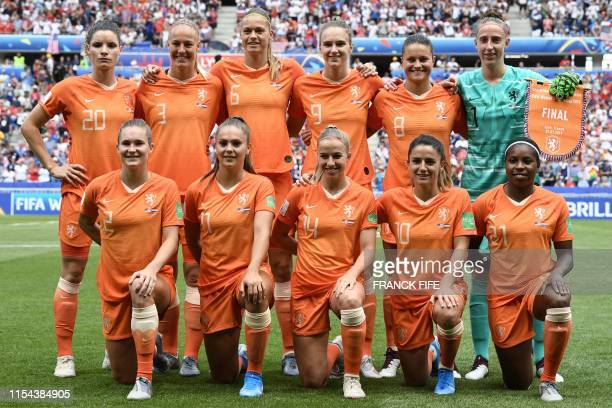 Netherlands' defender Dominique Bloodworth Netherlands' defender Stefanie van der Gragt Netherlands' defender Anouk Dekker Netherlands' forward...