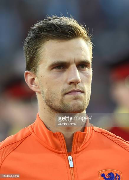 Netherlands' defender Joel Veltman poses ahead of the 2018 FIFA World Cup European zone group A qualifying football match between the Netherlands and...