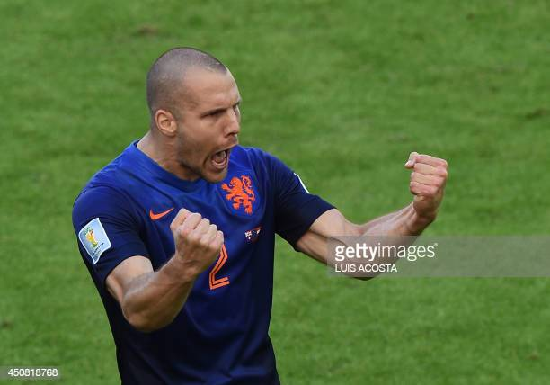 Netherlands' defender Ron Vlaar celebrates their victory at the end of a Group B football match between Australia and the Netherlands at the BeiraRio...