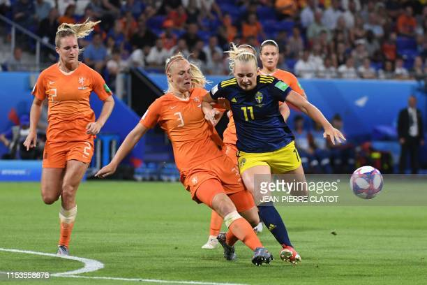 Netherlands' defender Stefanie van der Gragt vies with Sweden's forward Stina Blackstenius during the France 2019 Women's World Cup semi-final...