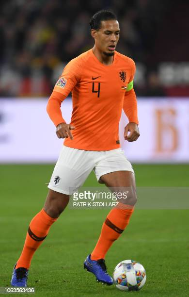 Netherlands' defender Virgil van Dijk controls the ball during the UEFA Nations League football match Germany v the Netherlands in Gelsenkirchen on...