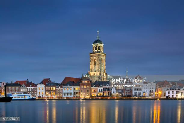 Netherlands, Deventer, Skyline. IJssel River. Dusk