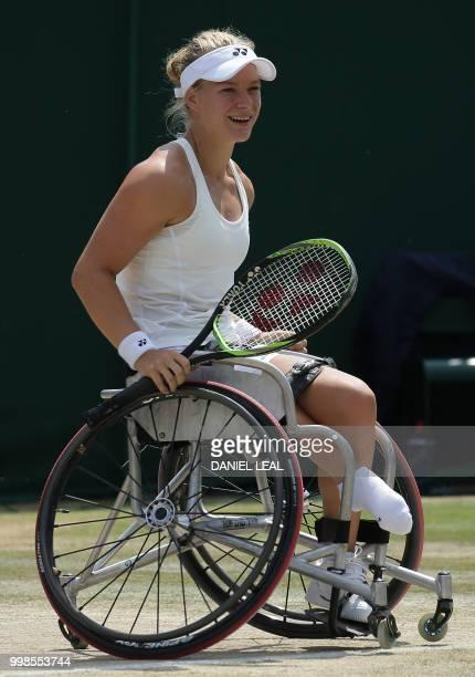 Netherlands' Diede De Groot reacts after winning against Netherlands' Aniek Van Koot during their ladies' wheelchair singles final match on the...