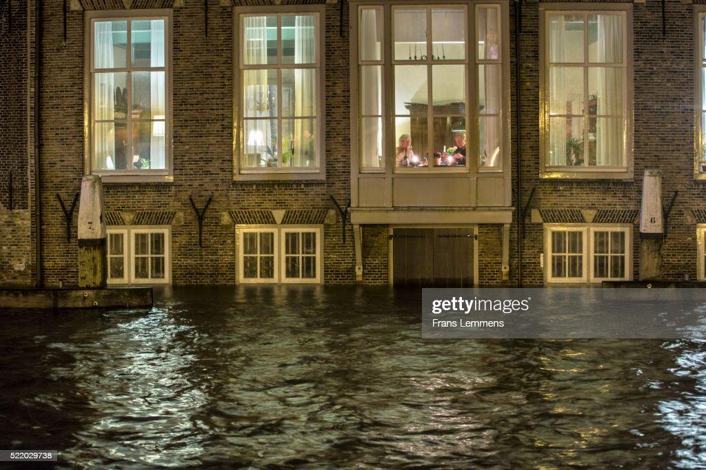 Netherlands, Dordrecht, Flood in Historic Inner City : Stock Photo