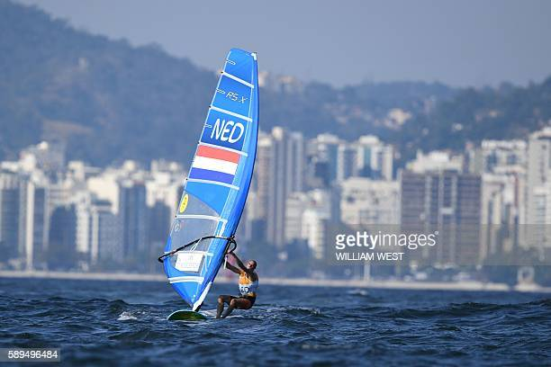 Netherlands' Dorian Van Rijsselberghe competes in the RSX Men sailing final race on Guanabara Bay in Rio de Janerio during the Rio 2016 Olympic Games...