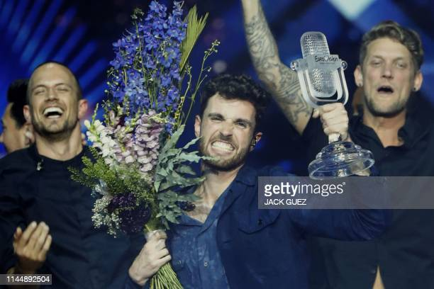 TOPSHOT Netherlands' Duncan Laurence celebrates after winning the 64th edition of the Eurovision Song Contest 2019 at Expo Tel Aviv on May 19 in the...