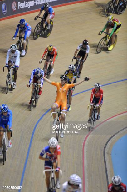 Netherland's Eleonora Van Dijk celebrates her victory after the women's scratch final in the UCI Track Cycling World Championships on March 30, 2008...