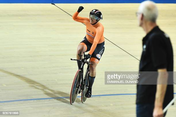 Netherland's Elis Ligtlee competes and takes third place in the women's 500 metre timetrial final during the UCI Track Cycling World Championships in...