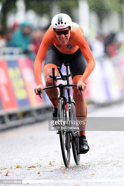 Netherlands' Ellen Van Dijk cycles to the finish to win gold in the women's road race time trial cycling final during the 2018 European Championships...
