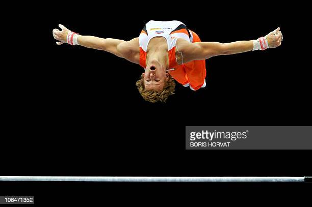 Netherlands' Epke Zonderland performs on the horizontal bar in the Men's qualifying session at the 42nd Artistic Gymnnastics World Championships on...