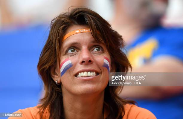 Netherlands fan looks on prior to the 2019 FIFA Women's World Cup France Semi Final match between Netherlands and Sweden at Stade de Lyon on July 03,...