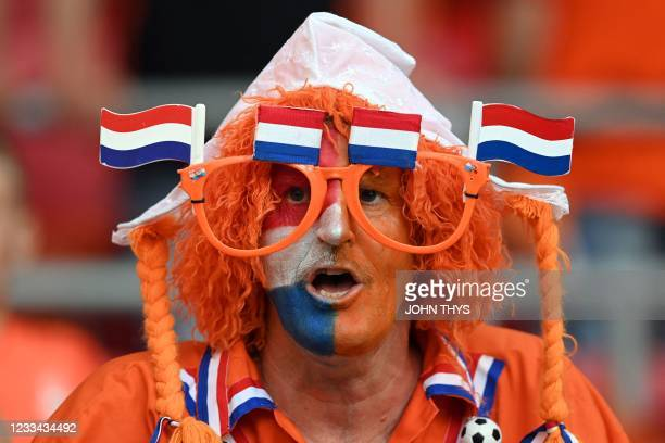 Netherlands fans cheer before the UEFA EURO 2020 Group C football match between the Netherlands and Ukraine at the Johan Cruyff Arena in Amsterdam on...