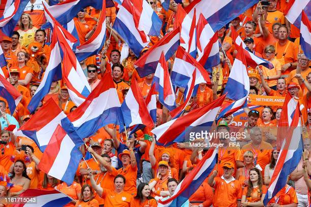 Netherlands fans cheer on their team during the 2019 FIFA Women's World Cup France Final match between The United State of America and The...