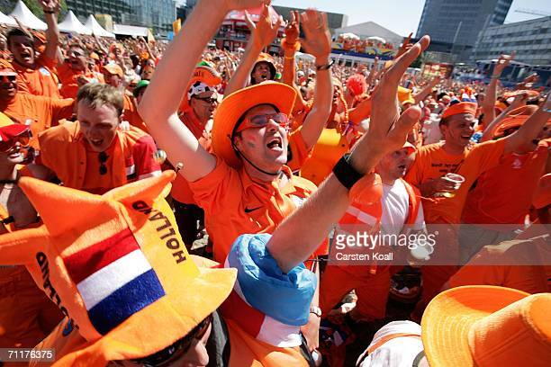 Netherlands fans enjoy the Netherland v Croatia Group C match during the 2006 Germany World Cup June 11, 2006 in Leipzig, Germany. Thousands of fans...