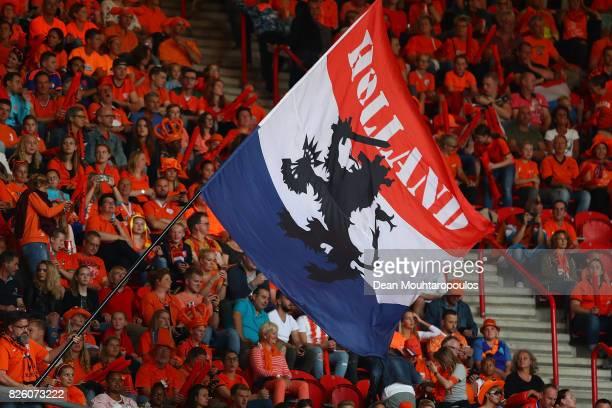 Netherlands fans enjoy the pre match atmosphere ahead of the UEFA Women's Euro 2017 Semi Final match between Netherlands and England at De Grolsch...