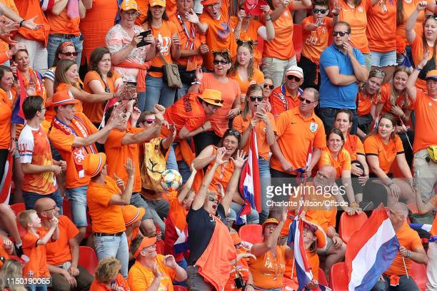 Netherlands fans react as the match ball flies into the crowd during the 2019 FIFA Women's World Cup France group E match between Netherlands and...