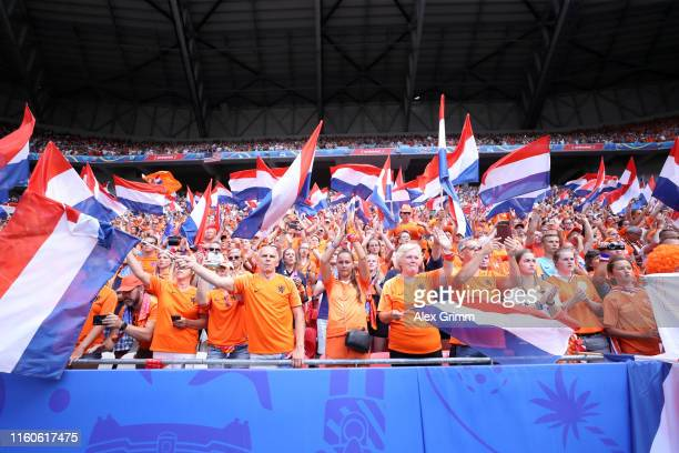 Netherlands fans show their support prior to the 2019 FIFA Women's World Cup France Final match between The United States of America and The...