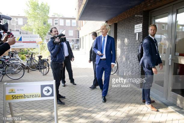 Netherlands' farright 'Partij voor de Vrijheid' party leader Geert Wilders arrives to vote for the European elections at a polling station in The...