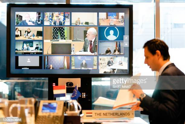 Netherlands' FinanceMinister Wopke Hoekstra looks on during a video conference with EU finance ministers in The Hague on April 7 during discussions...