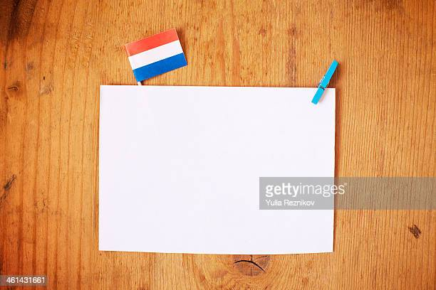 Netherlands flag with white letterhead