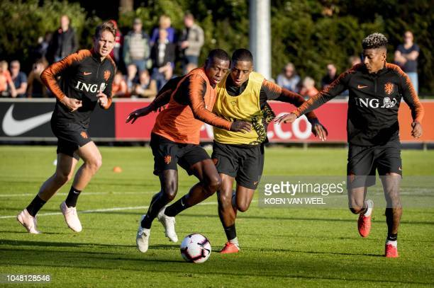 Netherlands' football players take part in a training session in Zeist on October 9 ahead of their UEFA Nations League football match Netherlands vs...
