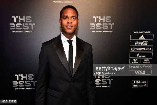 Netherland's former player Patrick Kluivert poses for a photograph as he arrives for The Best FIFA Football Awards ceremony on October 23 2017 in...